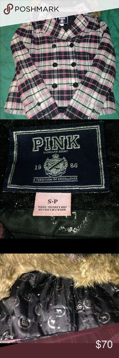 Pink plaid peacoat. Detachable hood. Gently worn. No missing buttons. PINK Victoria's Secret Jackets & Coats Pea Coats