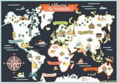 macocobox decembre - noel autour du monde / christmas around the world - mappemonde / map of the world - illustration camille chauchat