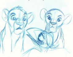 Simba, Nala, and Zazu Sketch
