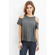 Forever 21 Forever 21 Women's  Open-Shoulder Top ($15) ❤ liked on Polyvore featuring tops, forever 21, short sleeve tops, cut shoulder top, cutout shoulder top and forever 21 tops