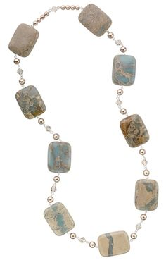 Single-Strand Necklace with Aqua Terra Jasper Gemstone Beads and Swarovski® Crystal Pearl Beads - Fire Mountain Gems and Beads