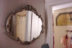 Antique Mirror French Barbola Ornate Silver by SimplyCottageChic