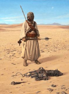 A Tusken Raider (Sand People) wielding a gaderffii discovers an IG-88 assassin droid in the desert.