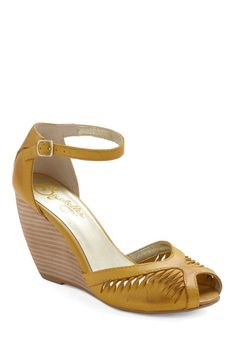 Canary yellow peep-toe wedges, Mod Cloth My mom had a pair of these in tan when we were little.  Would try them on all the time!