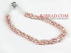 Clásico diseño de cuatro filamentos púrpura perlas de agua dulce y blanco Collar de cristal