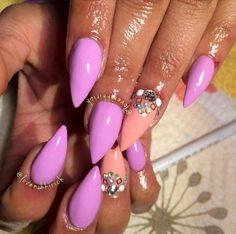 Neon Lavender & Peach Claw Acrylic Nails w/ Rhinestones