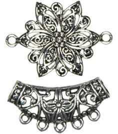 Jewelry Basics Metal Accents 2/Pk-Silver Flower W/Bail