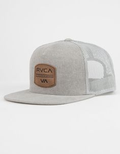 Features a faux leather RVCA label on front. Maintenance Logo, College Shop, Mens Trucker Hat, Dope Hats, Casual Outfits, Men Casual, Hats For Men, Snapback, Best Gifts