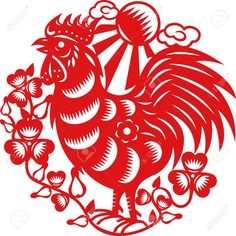 15520311-Chinese-year-of-Rooster-made-by-traditional-chinese-paper-cut-arts-Stock-Vector.jpg (1297×1300)