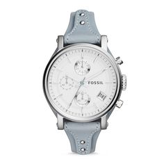 Original Boyfriend Chronograph Leather Watch – Blue - Fossil Hong Kong / Macau