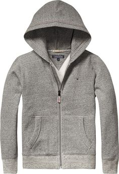 Schönes Basic: Einfarbige Tommy Sweatjacke mit Kapuze, seitlichen Eingrifftaschen und Logostitching. 80% Baumwolle, 20% Polyester...