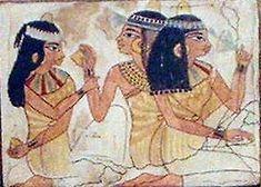 DAMAS Jóvenes que asisten a un banquete funerario. Pintura sobre estuco de la XVIII dinastía , 1435 AC , pertenecientemente a la tumba de Rakhmirè ( Sheikh abd el-Gurna)