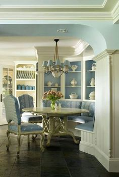 Curved furniture, beautiful cool color