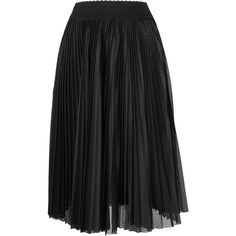 Givenchy Perforated Pleated Skirt (7 800 SEK) ❤ liked on Polyvore featuring skirts, black, pleated skirt, givenchy, knee length pleated skirt and givenchy skirt