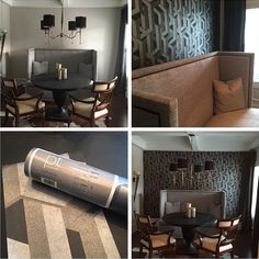 A stunning dinning room makeover! This customer has created a stylish dinning room decor with our Link wallpaper from the Urban collection, incorporating on trend geometrics. See more from the range online... http://www.prestigious.co.uk/wallcoverings/urban