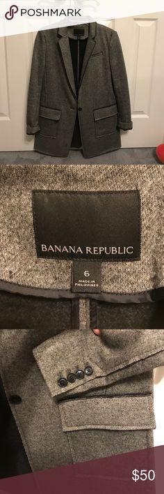 Banana Republic double knit blazer. Banana Republic woman's Double Knit Blazer, worn once. Excellent condition. Color is grey/brown from Fall 2015 collection . Size 6. Banana Republic Jackets & Coats Blazers