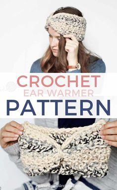 Free Crochet Ear Warmer Pattern - Free Pattern by Rescued Paw Designs Crochet Ear Warmer Pattern, Crochet Headband Pattern, Crochet Hats, Crochet Headbands, Crochet Slippers, Crochet Scarves, Knit Crochet, Easy Crochet Stitches, All Free Crochet
