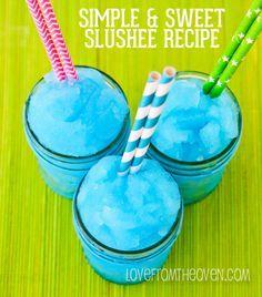 Easy Homemade Blue Raspberry Slushee Recipe in the ice cream maker! Kid Drinks, Frozen Drinks, Non Alcoholic Drinks, Summer Drinks, Beverages, Frozen Lemonade, Summertime Drinks, Drinks Alcohol, Frozen Desserts