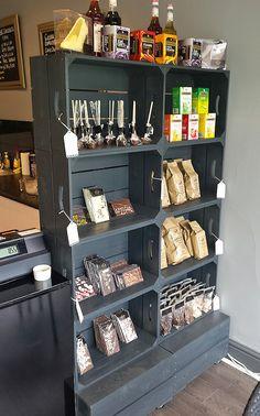 Large four crate shelving unit salon shelves, shop shelving, crate shelves, retail shelving Salon Shelves, Shop Shelving, Retail Shelving, Crate Shelves, Closet Shelves, Display Shelves, Display Ideas, Store Displays, Pet Store Display