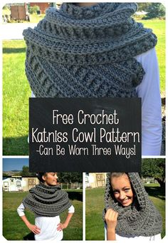 Free Crochet Katniss Cowl Pattern- Made with bulky yarn and can be worn three different ways!