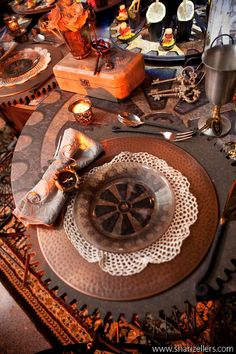 Think outside the box - Steampunk table setting.