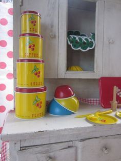 Vintage Toy Tin Kitchen Child Play Cherry Canisters Ohio Art Dishes Baking Set Primary Colors
