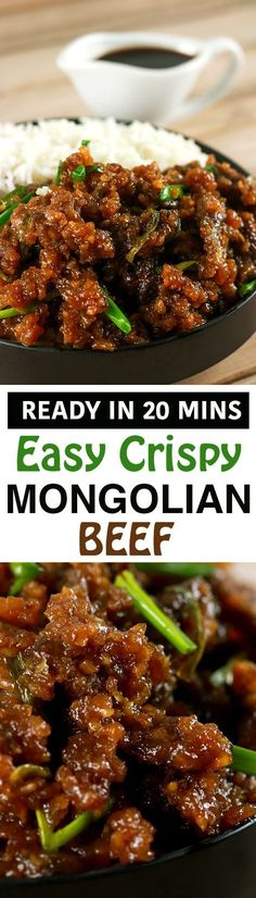 This Mongolian Beef recipe is super easy to make and uses simple, readily available ingredients! Whip this up in under 20 minutes and have the perfect mid-week dinner meal! | http://ScrambledChefs.com                                                                                                                                                                                 More