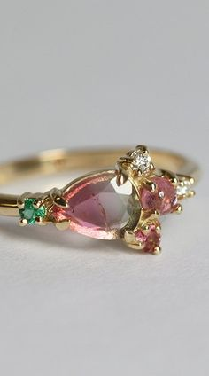 Watermelon Tourmaline Cluster Ring, Tourmaline Diamond Ring, Emerald Cluster Ring, Pink Green Cluster Ring, One of a Kind Cluster Ring Cute Promise Rings, Gem Gem, Tourmaline Jewelry, Everyday Rings, Mother Rings, Watermelon Tourmaline, Pink Bling, Love Ring, Cluster Ring