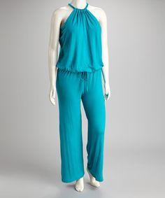 Loving this GLAM Aqua Plus-Size Jumpsuit on #zulily! #zulilyfinds
