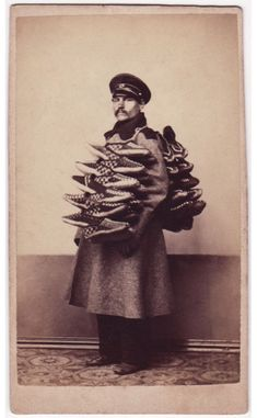 """""""Shoe seller"""" from a series of portraits of Russian Types taken in the by Scottish photographer William Carrick. All of the portraits are taken in one of two inside locations, all of them carrying the wares they would sell on the street. Antique Photos, Vintage Pictures, Vintage Photographs, Old Pictures, Old Photos, Portraits Victoriens, Imperial Russia, Victorian Era, Historical Photos"""