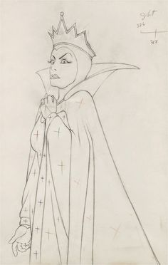 Snow White and the Seven Dwarfs Evil Queen Production Drawing (Walt Disney, The Evil Queen strikes - Available at 2013 November 20 & 24 Animation. Disney Character Sketches, Disney Female Characters, Disney Sketches, Disney Villains, Character Drawing, Disney Drawings, Disney Kunst, Disney Art, Walt Disney