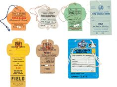 1932-98 New York Yankees Press Passes Lot of 7 With Called Shot Series.