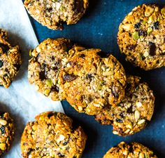 Quick and Easy Trail Mix Cookies ~ Wholefood Simply Healthy Meals For Kids, Healthy Baking, Healthy Snacks, Vegan Baking, Healthy Bars, Healthy Cookies, Healthy Slice, Raw Food Recipes, Snack Recipes