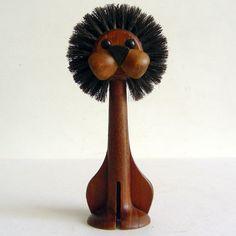 laurids lonborg wooden brush lion denmark 1960s   TSOTA