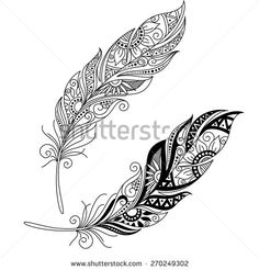 Vector Peerless Decorative Feather, Tribal design, Tattoo