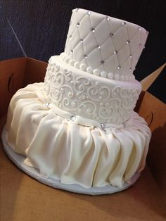 Ready for delivery! Fondant dress-style draping, scroll work, and quilting with crystals. Beautiful for any wedding! Customize with your own cake topper! annacakes.com