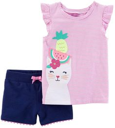 Carter's Baby Girls' 2 Piece Striped Cat Fruit Top And Shorts Set Baby Outfits, Little Girl Outfits, Newborn Outfits, Kids Outfits, Fashion Kids, Toddler Fashion, Fashion Wear, Toddler Girl Style, Toddler Girl Outfits
