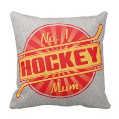 Number 1 Hockey Mom Name & Number Pillow.  Hockey throw pillow with easy to customize name and number print on one side. Available with cotton or polyester covers. Priced from $33.95. To see this design on the full range of products, please visit my store: www.zazzle.com/gamefacegear*/ #IceHockey