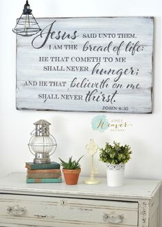 Bread of life wood sign by Aimee Weaver Designs Wood Signs Sayings, Sign Quotes, Wooden Signs, Diy Pallet Projects, Wood Projects, Bible Verse Signs, Scripture Art, Scriptures, Verses