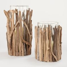 Twisted Driftwood Hurricane Candleholders - contemporary - candles and candle holders - World Market DIY - Bougoir verre et bois flotté