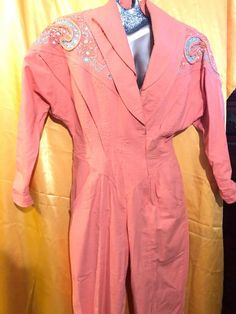 f8c02e9039b Vintage IIF Jump Pant Suit Size 8 Pink With Pearls And Rhinestones  fashion   clothing