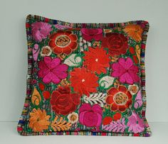 I want this pillow for my living room (Mexican folk art handmade embroidery color floral pillow case from etsy)