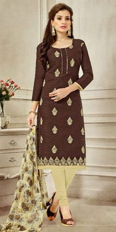 Delighting Brown Cotton Straight Suit With Dupatta.