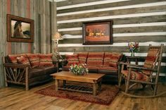 Log Cabin Furniture and Decor for Rustic Living Room Set Including Wooden Coffee Tables Close to High Back Rocking Chair Over Knotty Alder Flooring also Sofa for Cabbins Log Cabin Futon Log Cabin Loft