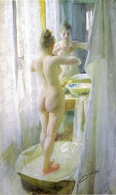 The Tub by Anders Zorn, watercolor.