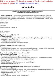 sample bartender resume examples bartender resume - Sample Bartending Resume