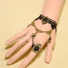 Handmade Black Lace Diamond With Spider & Heart-Designed Pendants Ring Accessories (Free Shipping)