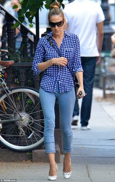 blue checked shirt, skinny jeans and white high heels