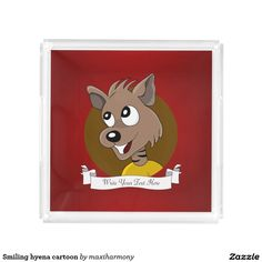 Smiling hyena cartoon square serving trays