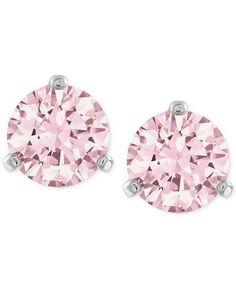 Swarovski | Silver-Tone Pink Crystal Stud Earrings #swarofski #stud #earrings